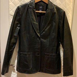 Women's 3/4 leather blazer